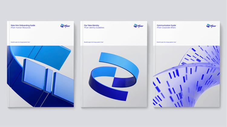 Pfizer rebranding 2021: books and brochures examples