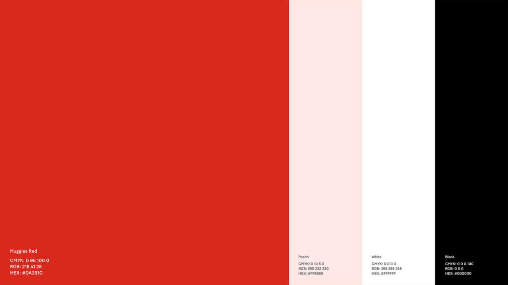 Huggies 2021 rebranding: color palette