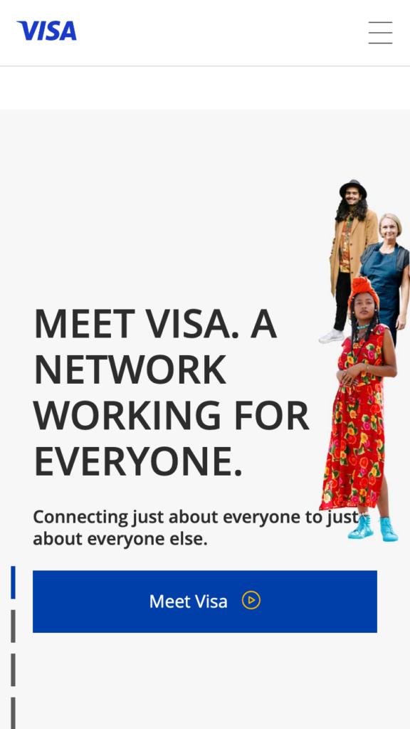 VISA User interface (mobile version)